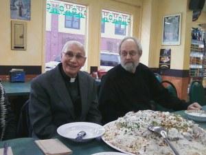 HCC board member Dr. Bert de Vries [Calvin College] and Rev. Naim Ateek at the Pita House.